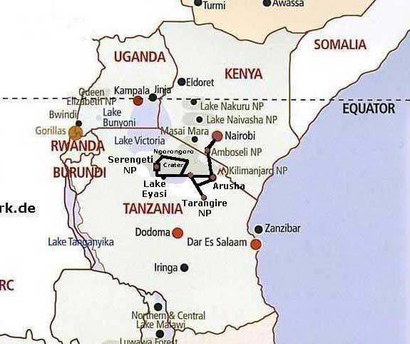 Kenia Maps Tansania Karten Camping Safaris
