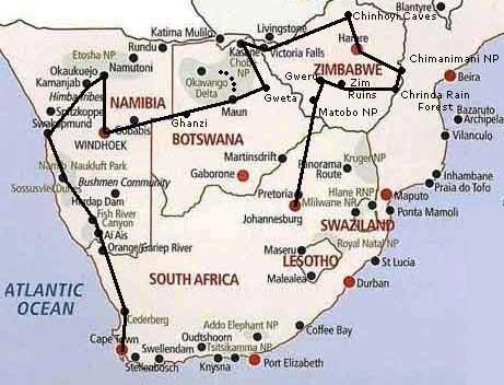 Route Map   Southern Africa Safari