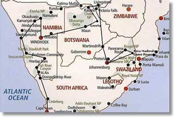 Cape Town to Kruger Route Map