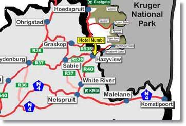 Numbi Hotel Location near the Kruger Park Gate