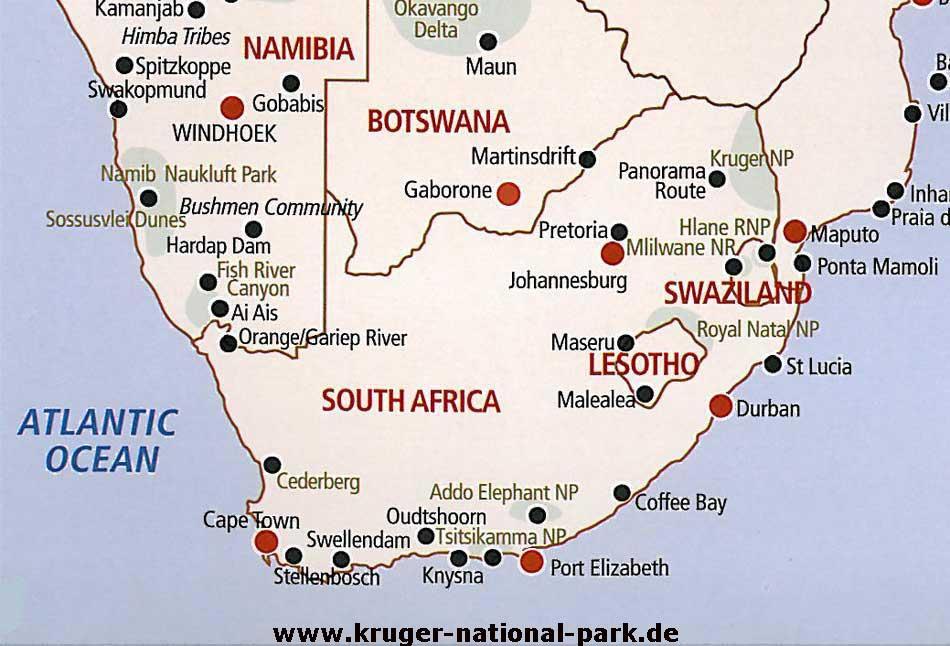 Karte Südafrika Garden Route.Länderinfos Südafrika Reiseführer über Safaris Touren
