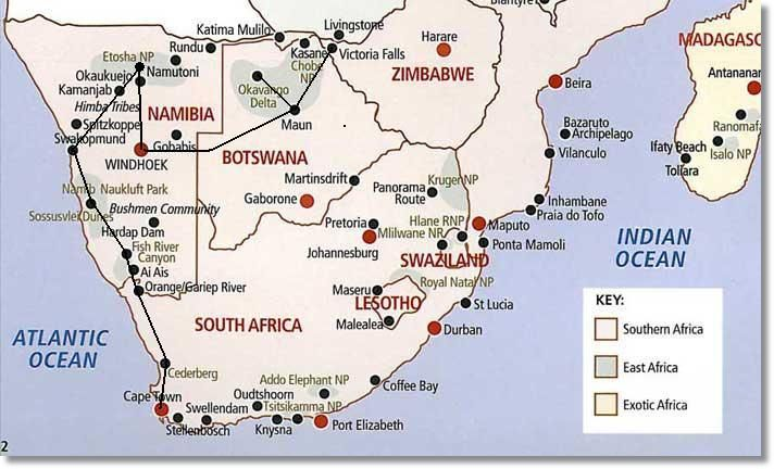 Route Map Cape Town to Victoria Falls