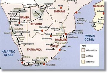 Map Route Victoria Falls to Cape Town Safari