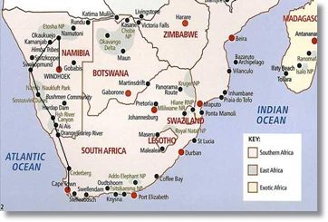 Cape Town Etosha Park Tour Route Map