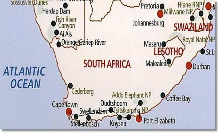 Route map garden route camping safari - How far is port elizabeth from cape town ...