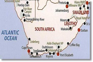 Garden Route Camping Safari Route Map