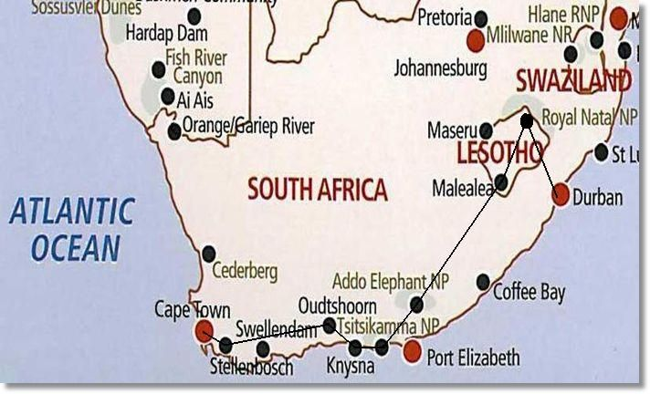 Garden Route Tour Map