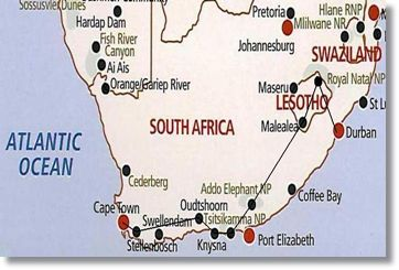 Durban - Cape Town Tour - Route Map