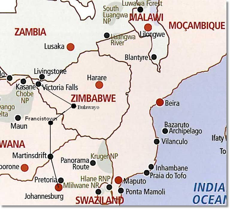 South Africa to Zimbabwe Route Map