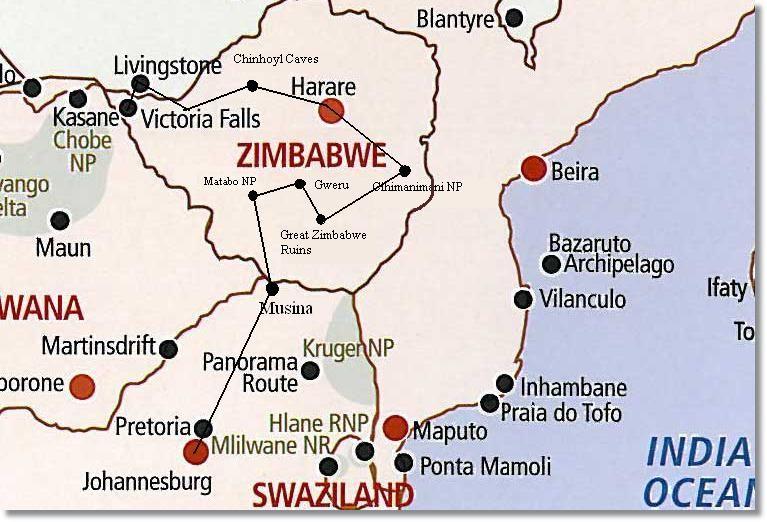 Map Of Africa Zimbabwe.Zimbabwe Safari Route Map