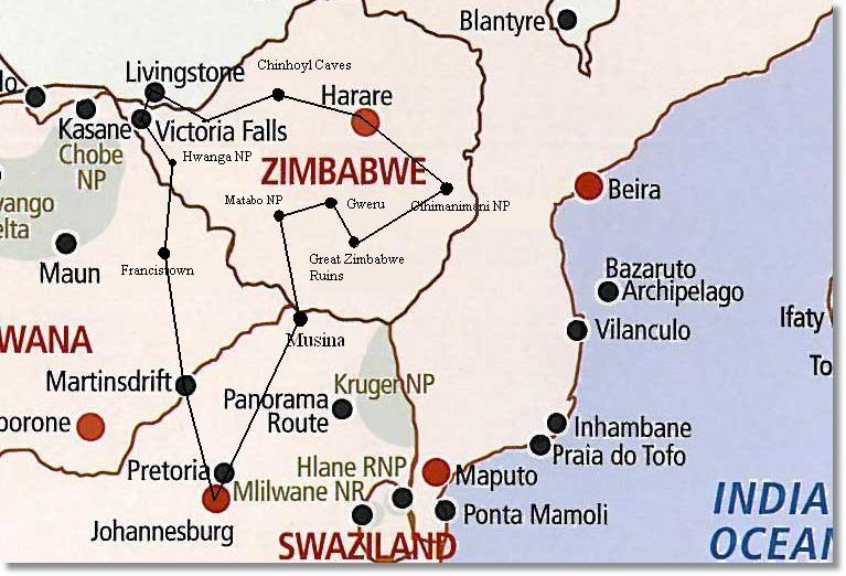 Journey to Joburg Map http://www.kruger-national-park.de/pages/english/africa-safaris/johannesburg/zimbabwe-tour/route-map.php