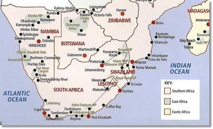 south africa map with ports