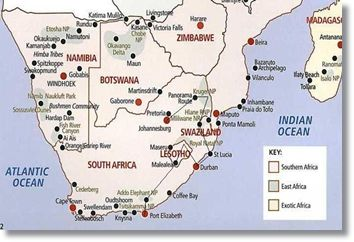 South Africa Tour Route