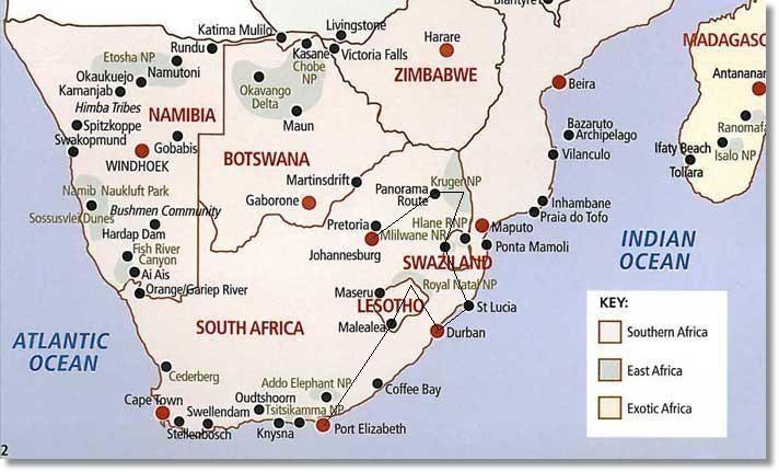 Lesotho Swaziland Kruger Park Route Map