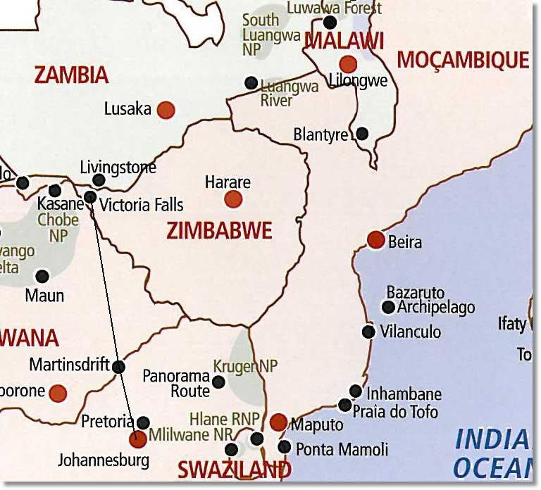 Victoria Falls to Johannesburg Route Map