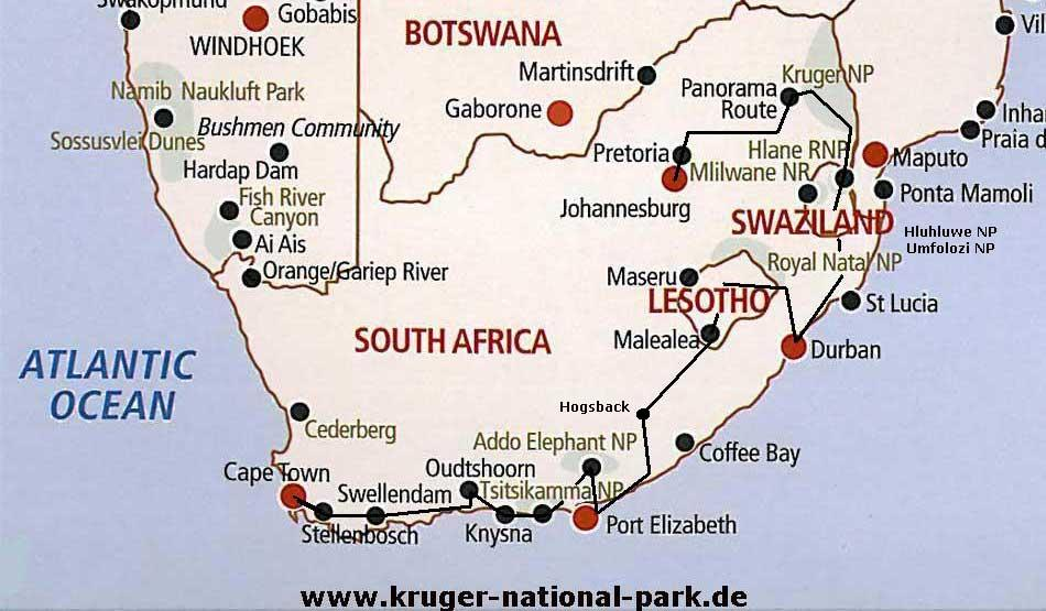 South Africa Tour Route Map