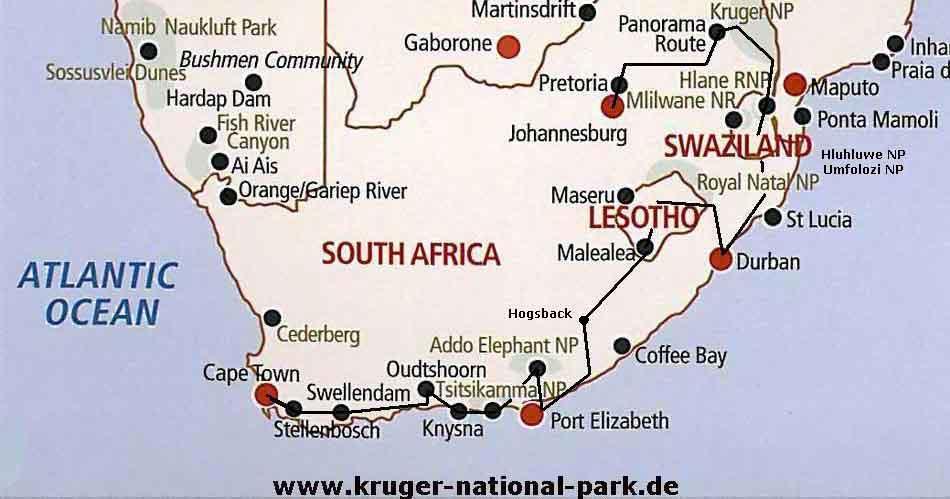Karten Sudafrika Rundreisen