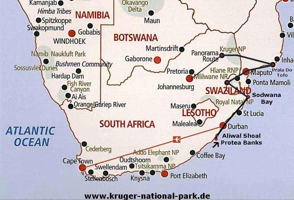 Südafrika Karte Sehenswürdigkeiten.Karten Südafrika Maps Mozambik Tauchreisen